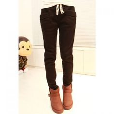 Casual Slimming Solid Color Elastic Waist Pocket Cotton Blend Women' Harem Pants, BLACK, ONE SIZE in Pants & Shorts | DressLily.com