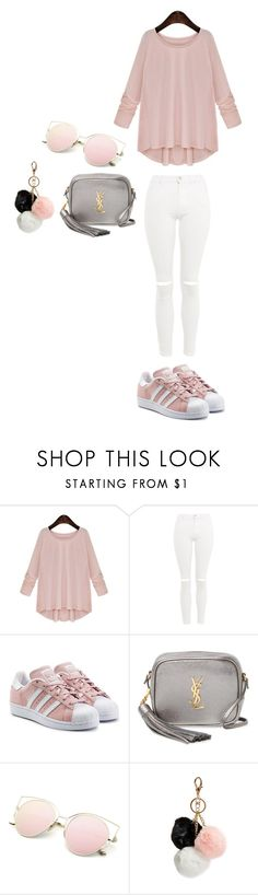 """Sin título #406"" by burusa2 ❤ liked on Polyvore featuring Topshop, adidas Originals, Yves Saint Laurent and GUESS"