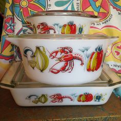 JAJ English Pyrex. Lobster pattern. Willy's fave. He bought the pixie then I fell in love with it & found the rounded edge round casserole.