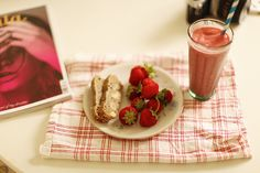 Strawberries that I picked, banana bread, raspberry/mango/banana smoothie