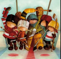Ketto placemat, for a smile at breakfast! The hockey team, for the inveterate athlete! Art Drawings For Kids, Art For Kids, Children's Book Illustration, Illustrations, Art Fantaisiste, Sports Painting, Art Mignon, Decoupage, Whimsical Art