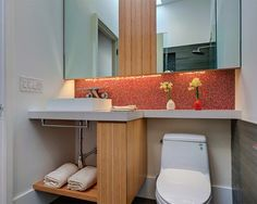 modern cabinetry in tight bathroom - modern - Bathroom - San Francisco - Michael Tauber Architecture. this ledge works better because of downlights and contrast tiles Space Saving Bathroom, Small Bathroom Layout, Compact Bathroom, Modern Bathroom, Small Bathrooms, Bathroom Ideas, Small Baths, Bathrooms Decor, Narrow Bathroom
