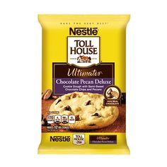 Delight in Semi-Sweet Chocolate Morsels, chocolate chunks and crunchy pecans in one rich, chocolaty cookie. Break-apart refrigerated dough makes it easy to sati Refrigerated Cookie Dough, Frozen Cookie Dough, Junk Food Snacks, Toll House, Edible Cookies, Dark Chocolate Chips, Athletic Outfits, Baking Ingredients, Easy Desserts