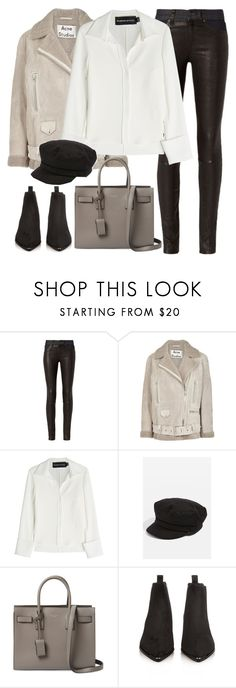 """""""Untitled #3234"""" by elenaday ❤ liked on Polyvore featuring rag & bone, Acne Studios, Brandon Maxwell, Topshop and Yves Saint Laurent"""