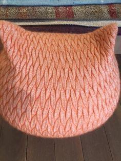 Peach Kitten Pouffe | Accessories| LOT.co.uk Second Hand Furniture, White Gloves, Merino Wool, Knitted Hats, Branding Design, Kitten, Peach, Design Inspiration, Brand Design