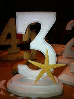 Wood Painted and Decorated Table Numbers