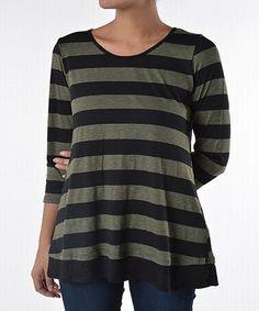 Olive & Black Stripe Tunic