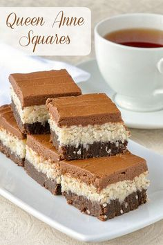Queen Anne Squares have been one of the most popular Newfoundland cookie bars ever on Rock Recipes; a scrumptious combination of coconut and chocolate. 13 Desserts, Delicious Desserts, Dessert Recipes, Italian Desserts, Rock Recipes, Sweet Recipes, Bar Recipes, Bar Cookie Recipes, French Recipes