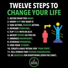 12 Steps to change your Life Business Motivation, Business Quotes, Self Development, Personal Development, Leadership Development, Life Skills, Life Lessons, Reality Quotes, Life Quotes