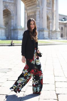 Floral pants, black jacket and red belt in Milan  MORE ON: http://www.ireneccloset.com/2014/04/deejay-chiama-italia.html  fashion blogger streetstyle outfit city