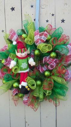 Deco mesh christmas elf wreath. Red and green.