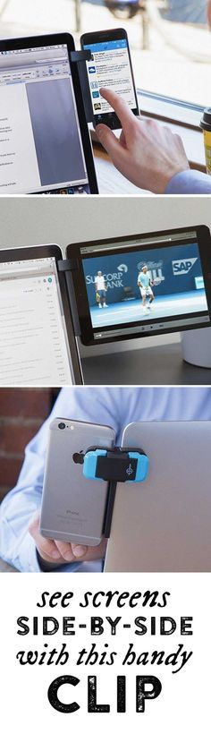 See two screens at once. This handy mount attaches a phone or tablet to your lap… See two screens at once. This handy mount attaches a phone or tablet to your laptop, letting you multitask or broaden your desktop. d'autres gadgets ici : Gadgets Électroniques, Electronics Gadgets, Desktop Gadgets, Office Gadgets, Iphone Gadgets, Kitchen Gadgets, Fitness Gadgets, Unique Gadgets, Baby Gadgets