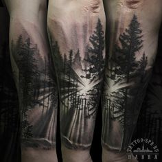 Spectacular black and white forest sunrise tattoo on forearm Leg Tattoos, Black Tattoos, Body Art Tattoos, Sleeve Tattoos, Bicep Tattoo, Natur Tattoo Arm, Natur Tattoos, Forest Tattoo Sleeve, Forest Tattoos