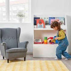 BERGIG Book display with storage, white - IKEA Toy Organizer Ikea, Toy Organization, Playroom Furniture, Baby Furniture, Bedroom Furniture, Open Shelving, Shelves, Toy Storage Boxes, Toy Boxes