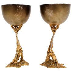 Gabriella Crespi Signed Brass Chalices 70's