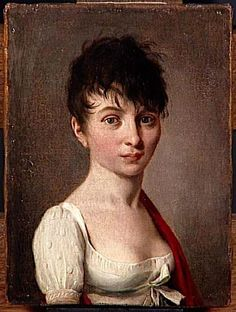 "The female version of the 'coiffure a la Titus', worn at the ""bals de victimes"" held after the Reign of Terror. Hair was cut short in imitation of the haircuts given to those about to be guillotined."