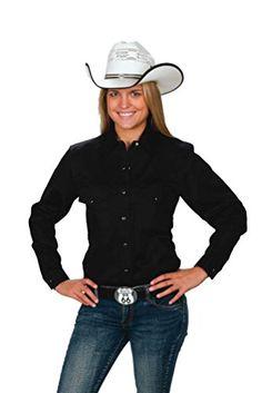 06587874717 Womens Button Down Cotton Western Cowboy Shirt-Black-XS Western Express  http