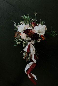 moody fall wedding bouquet ideas with burgundy #weddingflowers #weddingbouquets #weddingideas #BurgundyWeddingIdeas