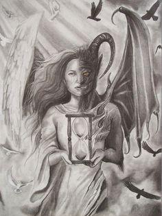 angel vs demon tattoo drawings - Google Search