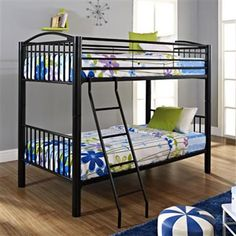 Heavy Metal Black Twin Over Twin Bunk Bed PWL-938-138