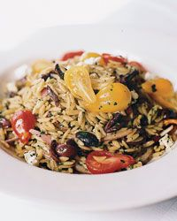 Nicoisie Style Orzo salad - I would add the green beans to this though for crunch and sweetness!
