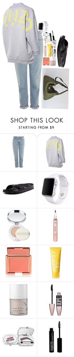 """""""Untitled #5001"""" by veronicaptr ❤ liked on Polyvore featuring Topshop, Kenzo, Birkenstock, Apple, Clinique, Stila, too cool for school, Maybelline, Benefit and The BrowGal"""