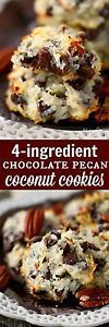 "If you love quick and easy treats, these 4-ingredient Chocolate Pecan Coconut Cookies are for YOU!  No mixer, no chilling, this ""cookie dough"" is ready to go in just seconds and the cookies bake up to..."