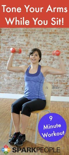 Sit down and get sculpting! This 9-minute workout hits every muscle in your arms. | via @SparkPeople #fitness #exercise #video mobility exercises for seniors