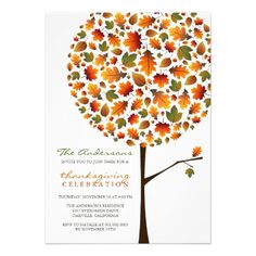 Thanksgiving Autumn Fall Leaves Pop Tree Party Cards.  $2.05
