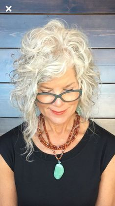 Hair Style - Going Gray Hair 2020 Short Curly Hair, Curly Hair Styles, Updo Curly, Grey Curly Hair, 50 Hair, Pelo Natural, Hairstyles Over 50, Cool Hair Color, Great Hair