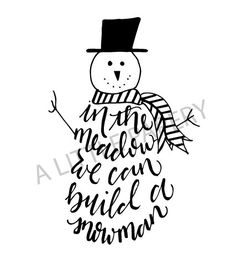 Snowman SVG, Handlettered Snowman SVG, Winter Cut File, Holiday File, Christmas SVG