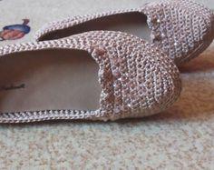 Crochet shoes,Wedges shoes,wedding shoes, wedge platform shoes, cork shoes, crochet shoes, elvi,Handmade women shoes, beige