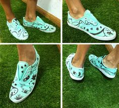 Hand Painted Tennis Shoes.
