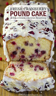 Christmas Cranberry Pound Cake Looking for perfect, delicious and easy Christmas dessert recipe? Then you should try this decadent pound cake with cranberries, white chocolate and cream cheese frosting! Christmas Desserts Easy, Christmas Cooking, Christmas Parties, Christmas Treats, Christmas Cranberry Cake, Christmas Christmas, Christmas Cakes, Christmas Baking Ideas Cookies, Baking For Christmas