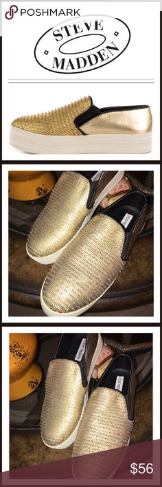 NWOB Steve Madden Gold Bubha Fashion Sneakers Re-Posh.. Never Worn, Tried On. New without Box Steve Madden Gold slip On Sneakers. Show off your fierce attitude with BUHBA, the perfect slip on sneaker with a comfortable rubber outsole. Play it safe and pair with boyfriend jeans, white tee and tons of attitude.💞 Steve Madden Shoes Sneakers