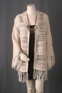 Available @ TrendTrunk.com Fringe Jacket Ramie White Bohemian Kimono. By Asos. Only $88!