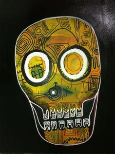 """David Joly; Oil 2012 Painting """"jolly roger skull"""""""