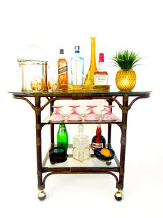 Vtg Ficks Reed Bamboo Rattan 3-Tier Rolling Bar Cart || Large Oval Shaped Cocktail Console by ElectricMarigold on Etsy