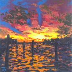 Acrylic on Linen12 x 12 inches The sun looks down on choppy waters as it bids goodnight to the coast. Original is available for your collection. To order a reproduction of this work on paper, canvas, wood, metal, or a variety of household goods, click here.