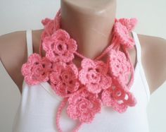 Handmade scarf with flowers new fashion Pink by BloomedFlower, $21.00
