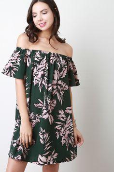 Off The Shoulder Tropical Leaf Motif Dress