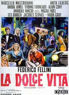 """""""La Dolce Vita"""" (1960) directed by Federico Fellini Starring Marcello Mastroianni, Anita Ekberg"""
