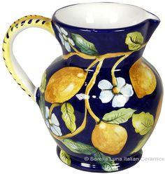 Hand Painted Ceramic Majolica Pitcher