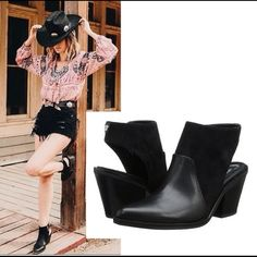 """Sam Edelman Carly Cut-Out Ankle Boot - 8/NWT Sam Edelman Carly Cut-Out Ankle Boot - This ain't your first rodeo, and you've got the badass ankle booties to prove it. A pointed toe serves serious Western vibes while the cutout heel adds modern edge. Style the stacked-heel Carly boot with denim, plaid, and bandana-print accessories. – DETAILS: Retail $100 – Size: 8 – Color: Black - Material: Nappa Leather & Diva Suede - Heel height: 3.5"""" – Side zipper – Brand New with Tags Sam Edelman Shoes…"""