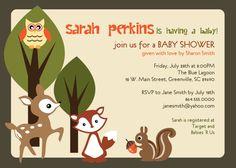 Printable Woodland Baby Shower Invitation, Animals Creatures Forest, Deer, Owl, Squirrel, Fox, DIY digital file