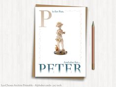 personalized alphabet card letter p pan digital file 5 x 7
