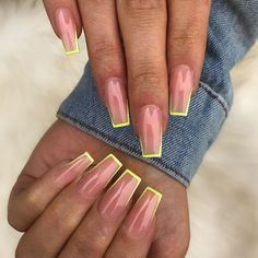 In seek out some nail designs and ideas for your nails? Here is our set of must-try coffin acrylic nails for stylish women. Neon Acrylic Nails, Neon Nails, Swag Nails, 3d Nails, Classy Acrylic Nails, Square Acrylic Nails, Classy Nails, Stylish Nails, Tapered Square Nails