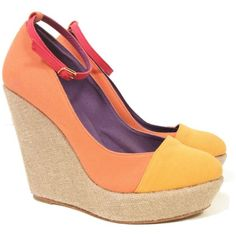 MyMu CECI Wedge | Orange (3,290 MXN) ❤ liked on Polyvore featuring shoes, wedges, heels, orange, yellow, ankle wrap shoes, linen shoes, leather sole shoes, yellow wedge shoes and gold metallic wedge shoes