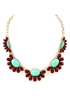 Vivie Necklace in Mint and Deep Brown