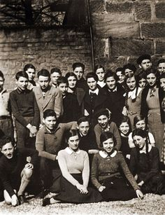 """""""On November 15, 1938, German authorities banned Jewish children from attending German public schools. This photograph shows a Jewish high school class, including a young Henry Kissinger (front row, left), in Fuerth, Germany."""